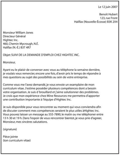 la lettre de pr u00e9sentation au qu u00e9bec